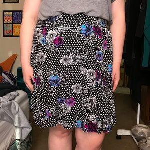 Polka Dot and Floral Torrid Skater Skirt